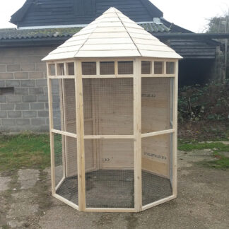 Octagonal Aviary with Boarded Back, Unpainted