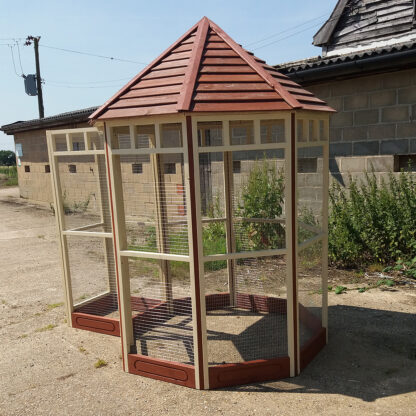Octagonal Aviary - Safety Porch (kickboard) in Brown & Cream