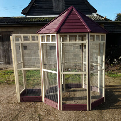 Octagonal Aviary - Safety Porch (kickboard) in Ruby & Cream