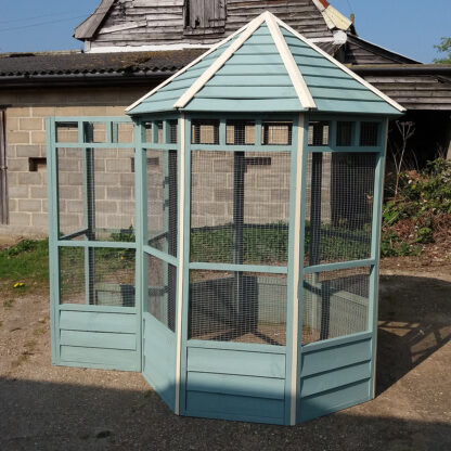 Octagonal Aviary - Third Panel with Safety Porch, Blue & Cream
