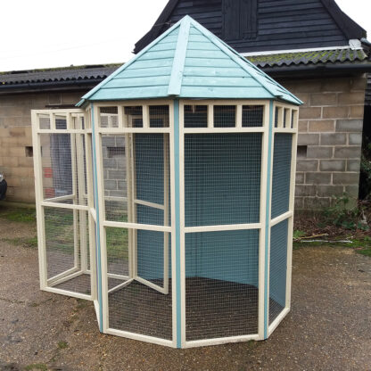 Octagonal Aviary, boarded back & safety, Blue & Cream