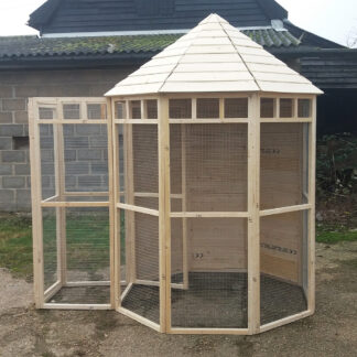 Octagonal Aviary, boarded back & safety, Unpainted