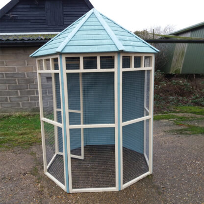 Octagonal Aviary with Boarded Back in Blue & Cream