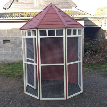 Octagonal Aviary with Boarded Back in Brown & Cream